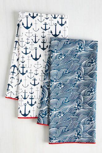 Nautical tea towel set