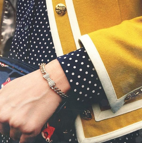 Mustard & navy polka dots