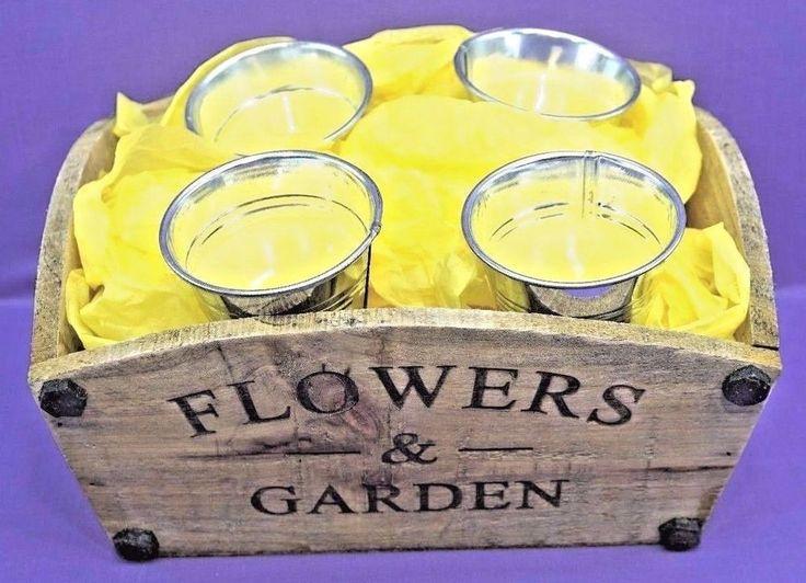 FLOWERS & GARDEN PLANTER 4 MINI BUCKET CITRONELLA CANDLE SET GIFT IDEA PRESENTS