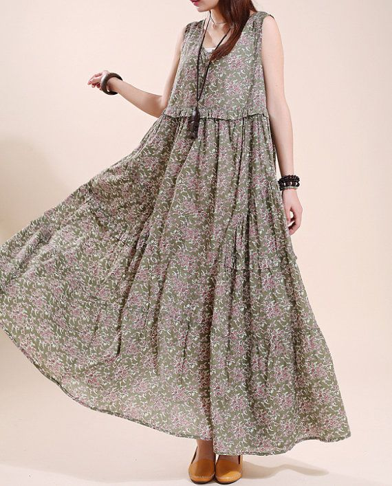 Cotton sleeveless long dress Loose Floral Big swing womens dress