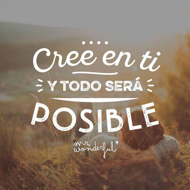 Cree en ti y todo será posible Mr Wonderful