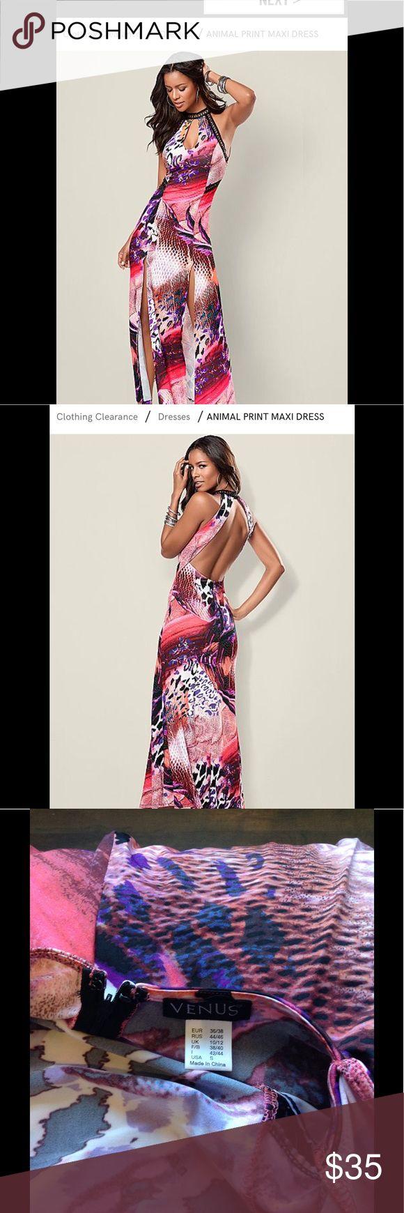 Venus animal print maxi dress Venus maxi animal print dress.  Open back   Has 2 slits in front to give it that sexy fun look.  Size small.   NWOT VENUS Dresses Maxi