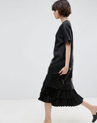 Многослойное платье миди из органзы в горошек ASOS WHITE