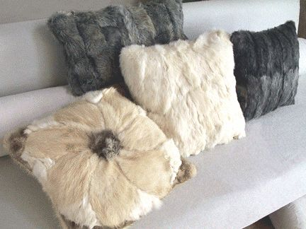 reclaimed fur flower pillow made from several vintage fur coats by the coat check