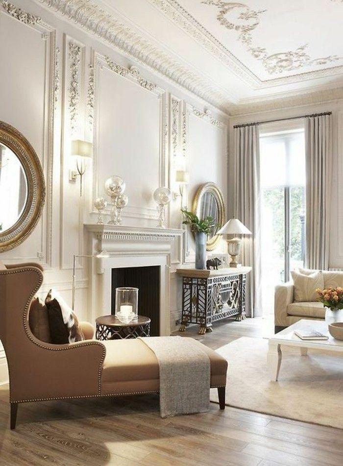 salon baroque avec peinture mur salon taupe - mélange moulures et ...