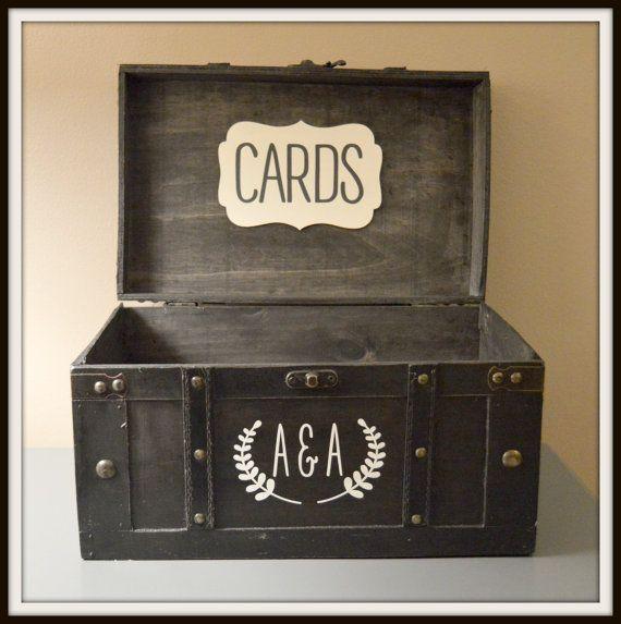 Black Vintage Wedding Card Box Holder Wedding by AnArtsyAffair