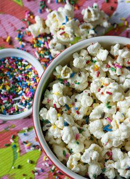 So fun and festive -- funfetti popcorn. Perfect for movie night!