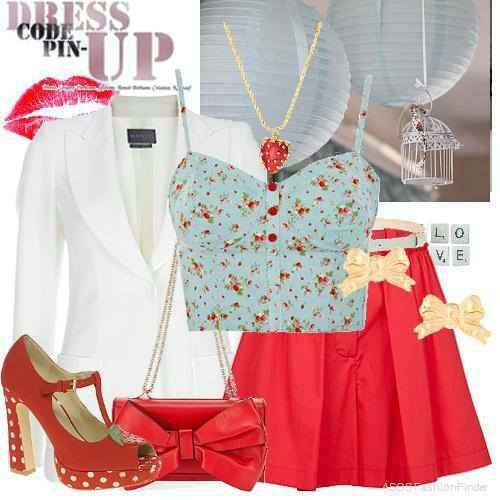 pin up outfit <3 i love the skirt and shirt