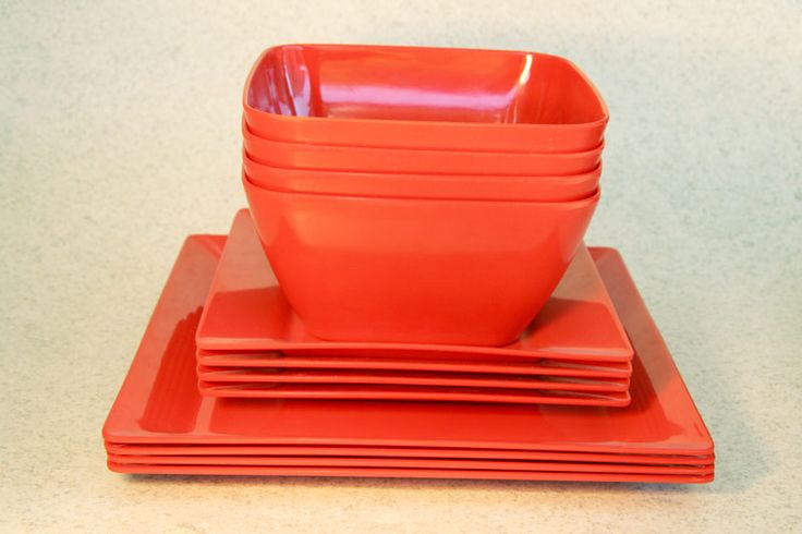 Plastic/Melamine square dining setting for 4 (3 colours), Assistive Style $25