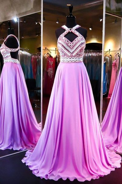 2017 Custom Made Chiffon Prom Dress,Sexy Beading Evening Dress,Sleeveless Party Gown,Chiffon Halter Prom Dress,High Quality