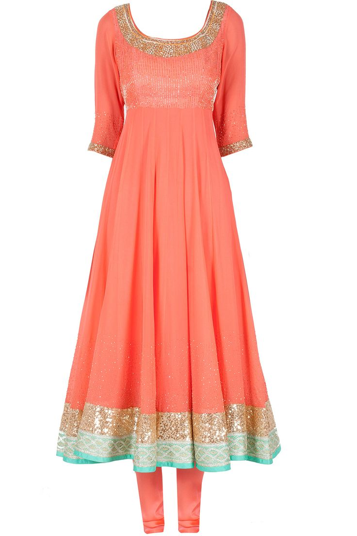 Peach embroidered anarkali available only at Pernia's Pop-Up Shop.