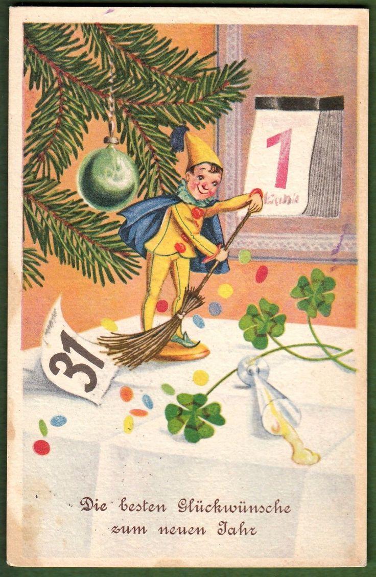 ak fritz baumgarten neujahr clown harlekin kalenderblatt tannenzweig 1940 ebay. Black Bedroom Furniture Sets. Home Design Ideas