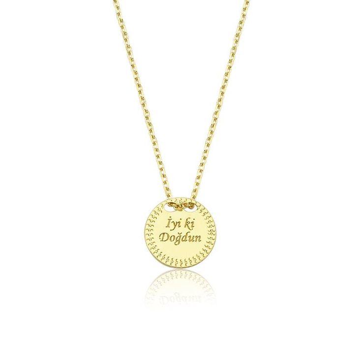"""Altın """"İyi ki Doğdun"""" Kolye #altınbaşlife #kolye #altın #takı #tasarım #hediye #gift"""