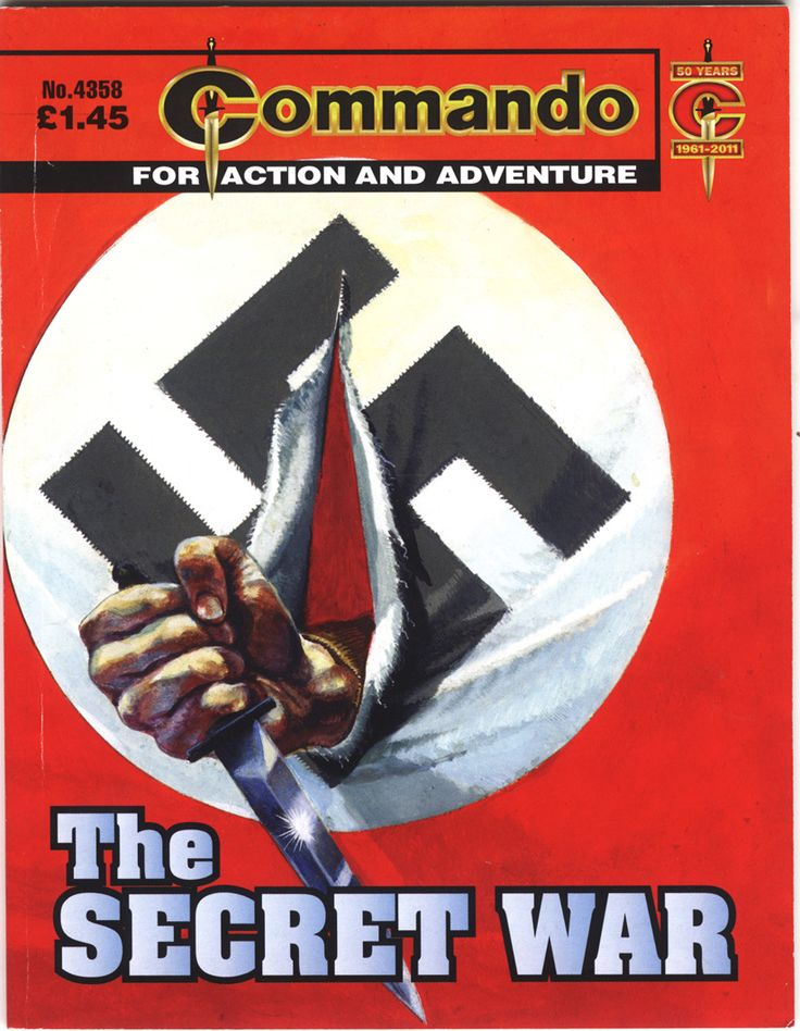 a comic book cover with a dahher breaking through a Nazi swastika flag