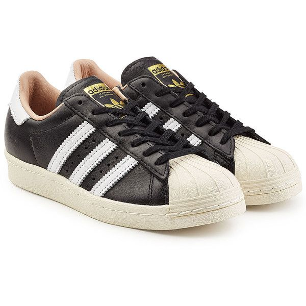 Adidas Originals Superstar 80s Sneakers (5,700 PHP) ❤ liked on Polyvore featuring shoes, sneakers, black, leather trainers, black sneakers, adidas originals sneakers, black leather trainers and 1980s sneakers