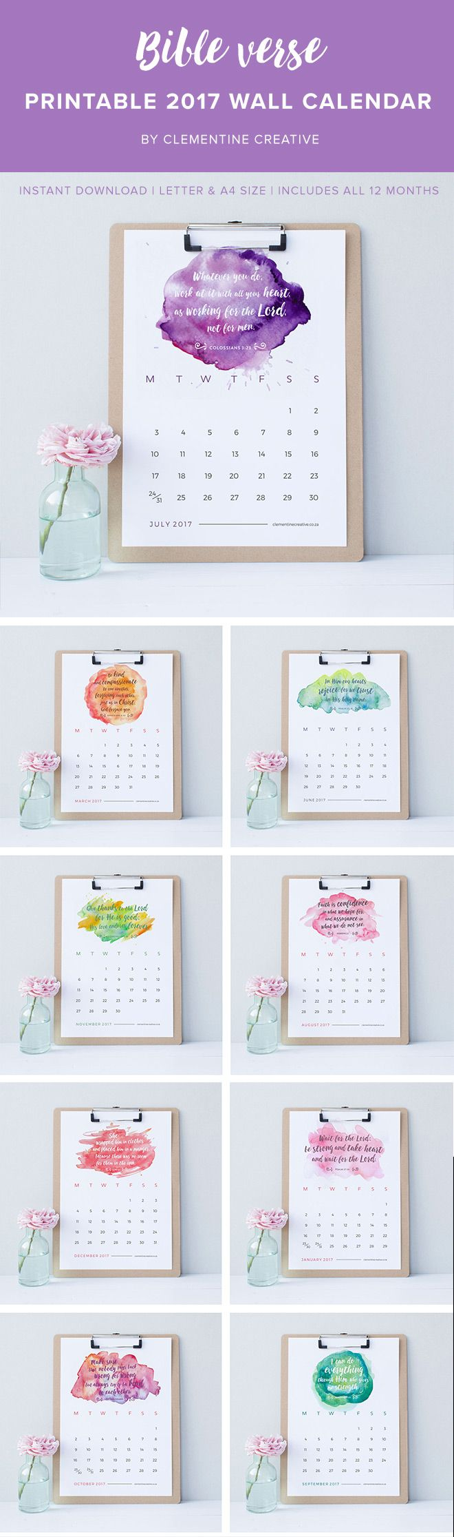 Be inspired every day with this printable 2017 wall calendar with a new Bible verse for each month. Download instantly, print, and decorate your workspace!