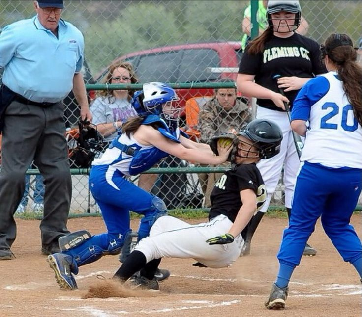SUMMER FUN - GIRLS SOFTBALL IS A CONTACT SPORT! - NASTY HOME PLATE TAG TO THE FACE!