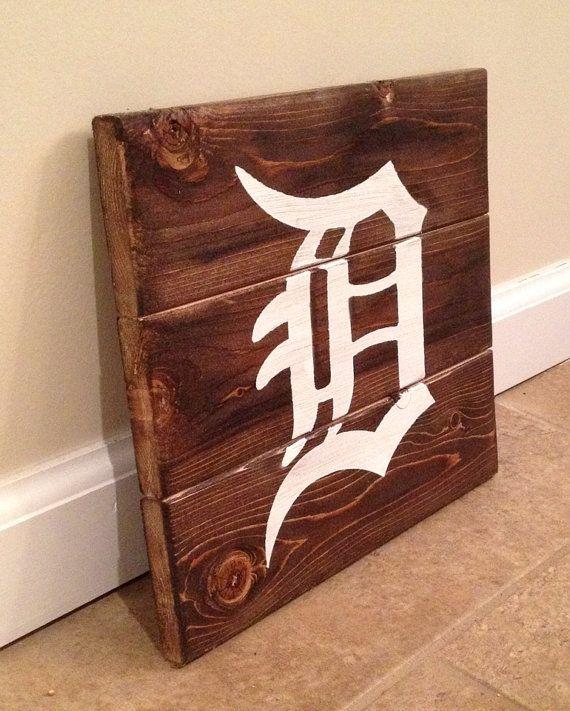 Detroit D sign - wood wall art on Etsy, $15.00