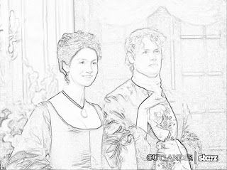 Jamie and Claire at a party in France (Outlander Season 2) Outlander coloring pages: The Outlander Un-Official coloring book 2015 Holiday Edition