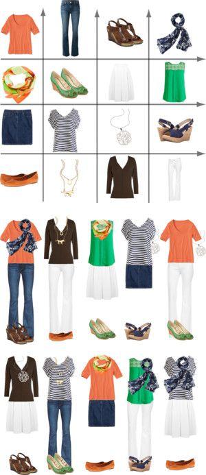 Orange, Green & Brown 2-week capsule wardrobe by kristin727 on Polyvore featuring Miss Selfridge, Nine West, J Brand, Miz Mooz, Blu Bijoux, J.Crew, CÉLINE, DL1961 Premium Denim, Cordani and Merona