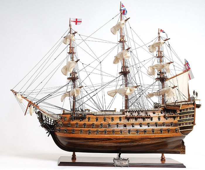 Heave to and furl your sails while you look at this Old Modern Handicrafts HMS Victory hand-crafted wooden replica ship. This first-rate ship of the line served as Admiral Nelson's flagship during the