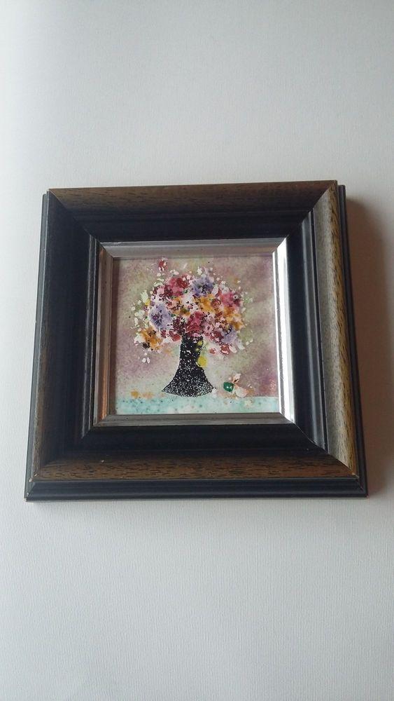 Vintage Romantic Decorative Framed Ceramic Enamel Tile Artwork  Flowers Tree