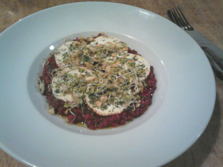 beet risotto with goat cheese