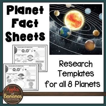 Planet Fact Sheets: Templates for all 8 Planets