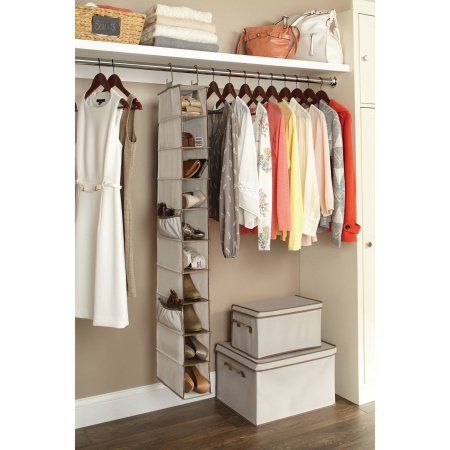 Better Homes and Gardens 10-Shelf Hanging Shoe Organizer, Beige