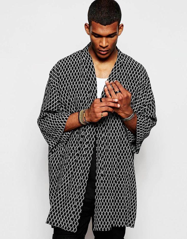 ASOS Kimono In Diamond Print