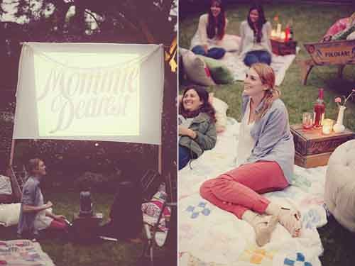 outdoor movie screening!    Maybe barbeque, fire pit, we already have a projector and white church walls (or sheet)