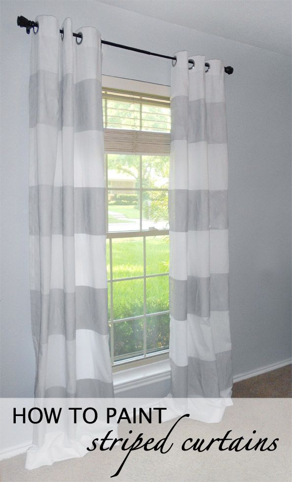 How to Paint Striped Curtains: Paint Striped, House Ideas, Diy'S, Decorating Ideas, How To Paint, Stripes, Striped Curtains, Diy Projects, Bedroom