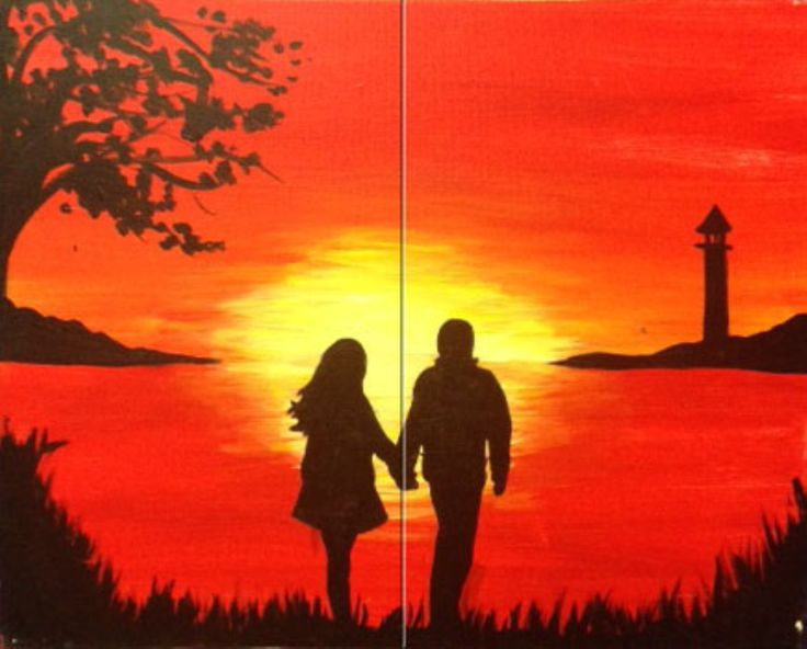 Bring a partner for this two-canvas sunset landscape where the hands of the strolling couple seem to hold the canvases together.