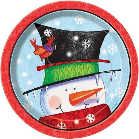 "7"" Snowman Buddies Holiday Dessert Plates, 8-Count"