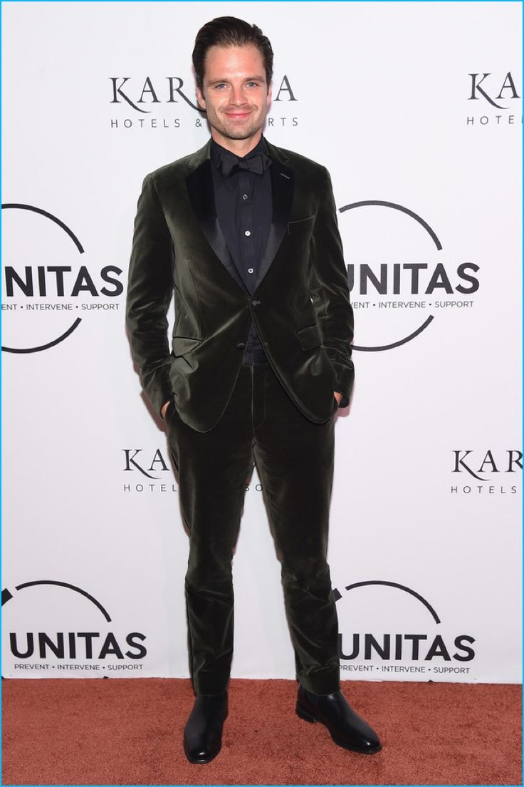 September 2016: Wearing A Green Velvet Suit From Todd Snyder, Sebastian  Stan Is All