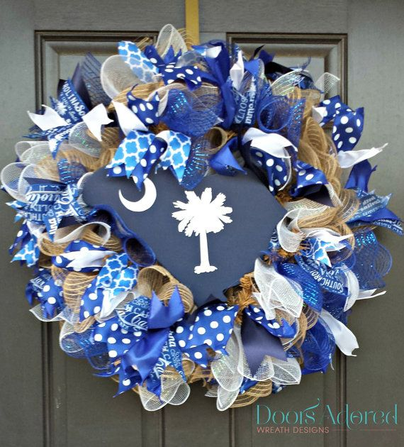 South Carolina Wreath  Palmetto State Wreath  South by DoorsAdored