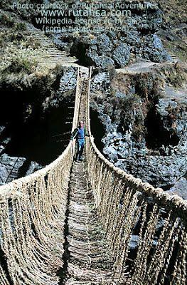 Inca rope bridge.: Scenic Bridges, Inca Ropes, Suspen Bridges, High Places, Scary Places, Scary Bridges, Danger Bridges, Suspension Bridges, Ropes Bridges