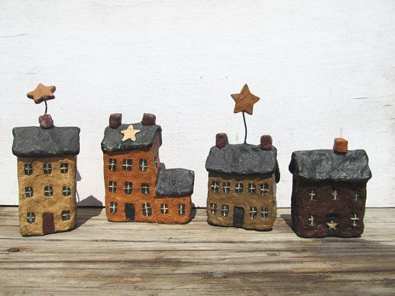 *Prim Resin Country Village Houses / Primitive Farmhouse Decor / Mixed Media Art Project*  http://www.etsy.com/shop/CLEOandBLANCHE?ref=si_shop