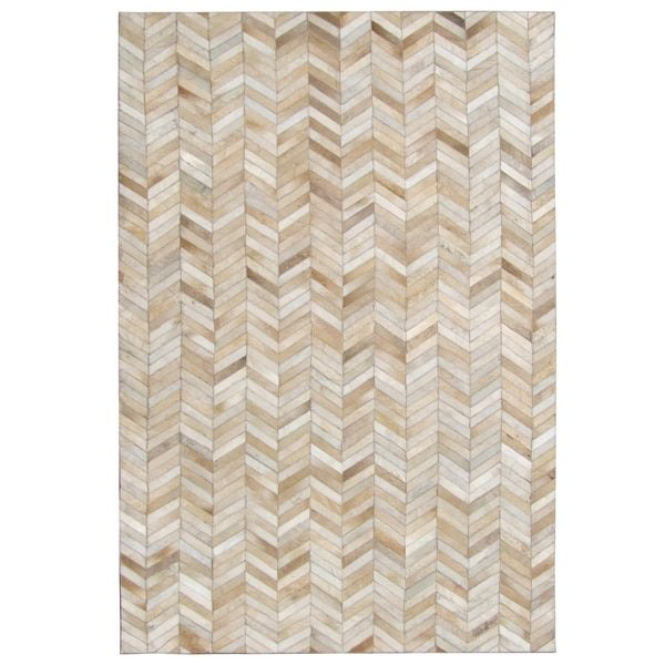 Hand-stitched Tan Chevron Cow Hide Leather Rug (5' x 8')
