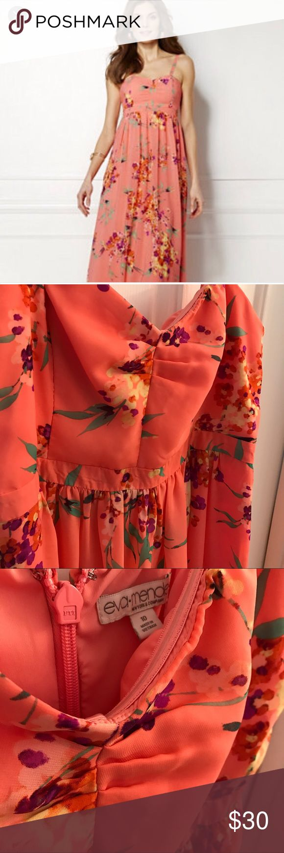 Orange Floral Maxi Dress (Hemmed) Isn't this orange floral dress from the Eva Mendes line at New York and Company just gorgeous?! I wore this dress once for an Easter gathering. :) The pattern is so beautiful in person! It's silly soft and comes with a slip inside. Zippered enclosure in the back. *Please note I did get this hemmed. I am 5 feet tall.* This dress can be dressed up for fancy occasions or dressed down a cute jean jacket. New York & Company Dresses Maxi
