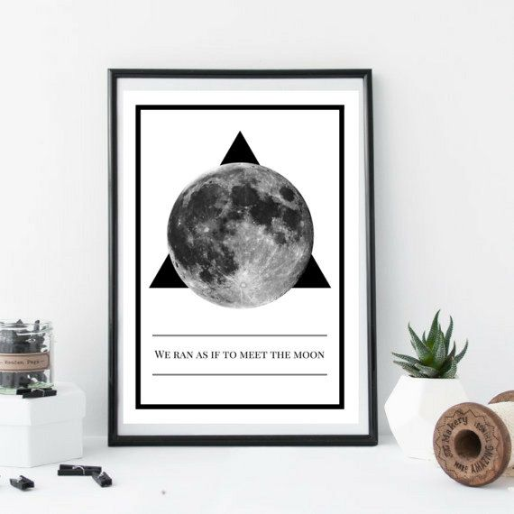 038 Moon Book Quote Poster Wall Art Poetry Run Interior