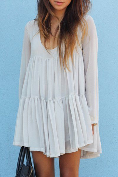white U neck dress #warmgetaways