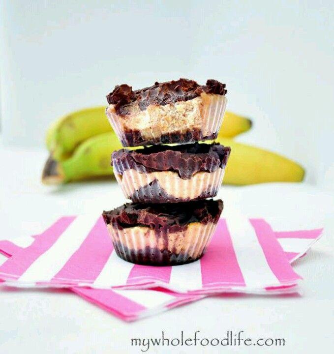 Chocolate almond banana bites, vegan.