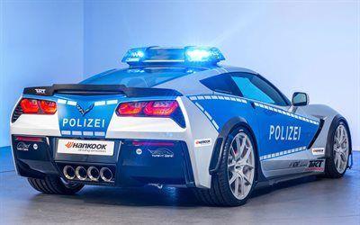壁紙をダウンロードする コルベット, ドイツ, 警察車, シボレー