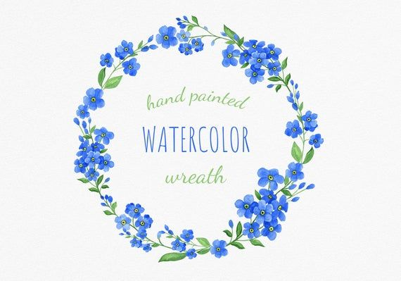Hand Painted Blue Watercolor Wreath Clipart Summer Flowers Wreath
