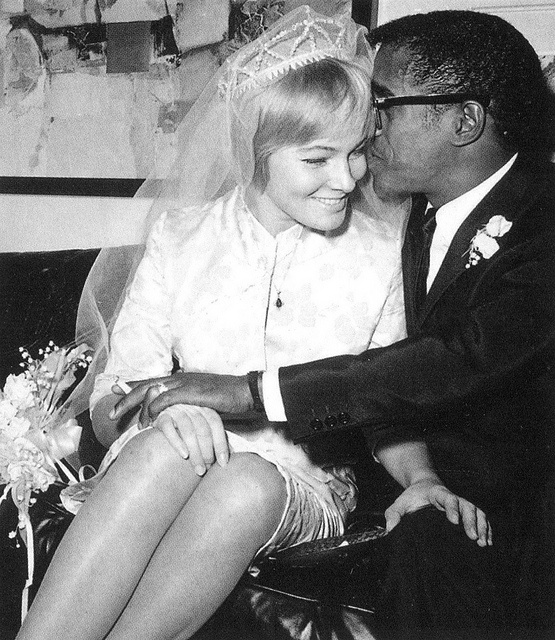 Sammy Davis Jr., and Swedish actress May Britt on their 1960 wedding day. Blazing the trail for inter-racial marriage. It took guts back then. Reminds me of my Uncle Tony and Aunt Joyce. They also married in the 60's. They must have had some tough moments from ignorant, bigoted people.