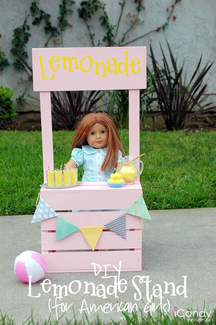 Lemonade Stand for American Girl Dolls. Fabulous Free Tutorial for this fun idea! The kids will love this!