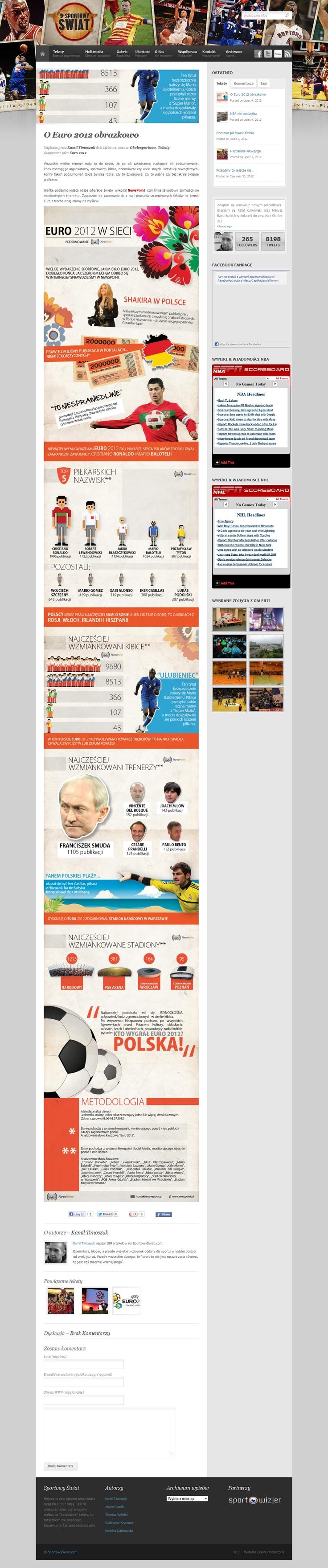 Kamil Timoszuk z serwisu Sportowy Świat opublikował w środę (4 lipca) naszą infografikę o Euro 2012 :) źródło: http://sportowyswiat.com/teksty/o-euro-2012-obrazkowo/