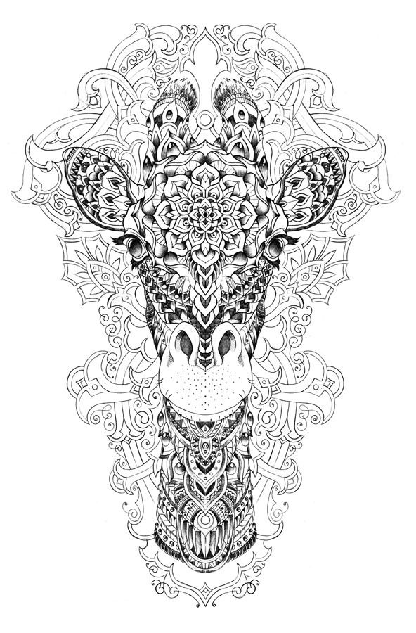 giraffe by bioworkz via behance abstract doodle zentangle coloring pages