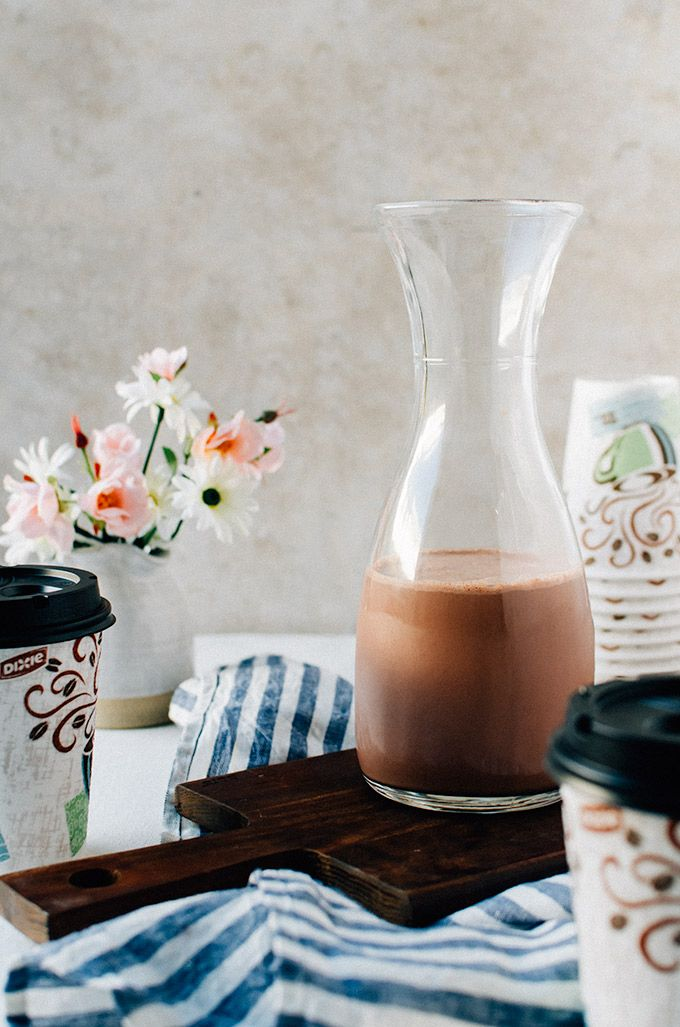 Chocolate banana coffee creamer with cashew milk. This chunky monkey coffee creamer is the best way to dress up your coffee!